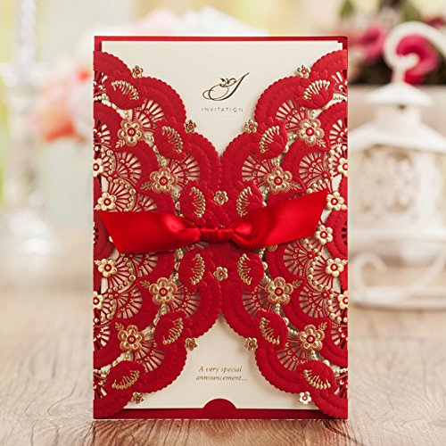 Wishmade 50x Elegant Red Laser Cut Wedding Invitations Cards with Lace and Hollow Pattern Cardstock for Baby Shower Bridal Shower Engagement Birthday Fancy Party(set of 50pcs)CW5113 (Halloween Party Invite Printable)