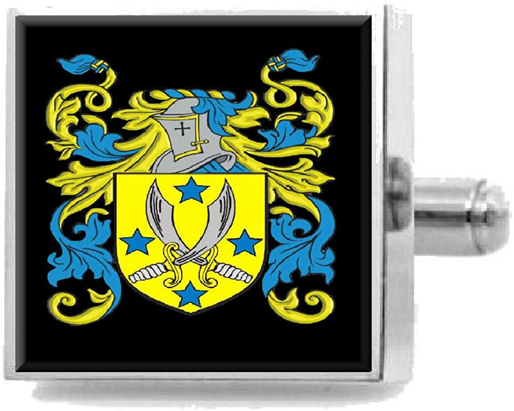 Select Gifts Butts England Heraldry Crest Sterling Silver Cufflinks Engraved Message Box