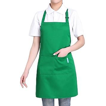 esonmus Delantal de Cocina de Poliéster con Tira de Cuello Ajustable y 2 Bolsillos para Hornear Jardinería Restaurante Barbacoa para Hombres y Mujeres ...