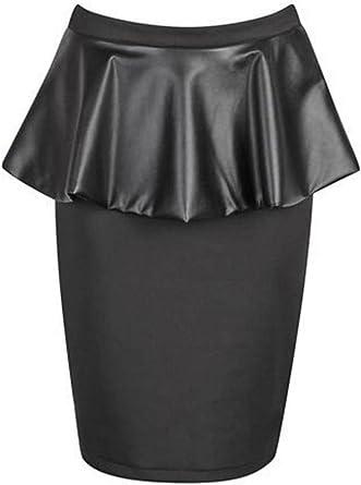 Womens Plus Size Wet Look Pu Shiny Long Short Sleeve Calf Length Midi Dress