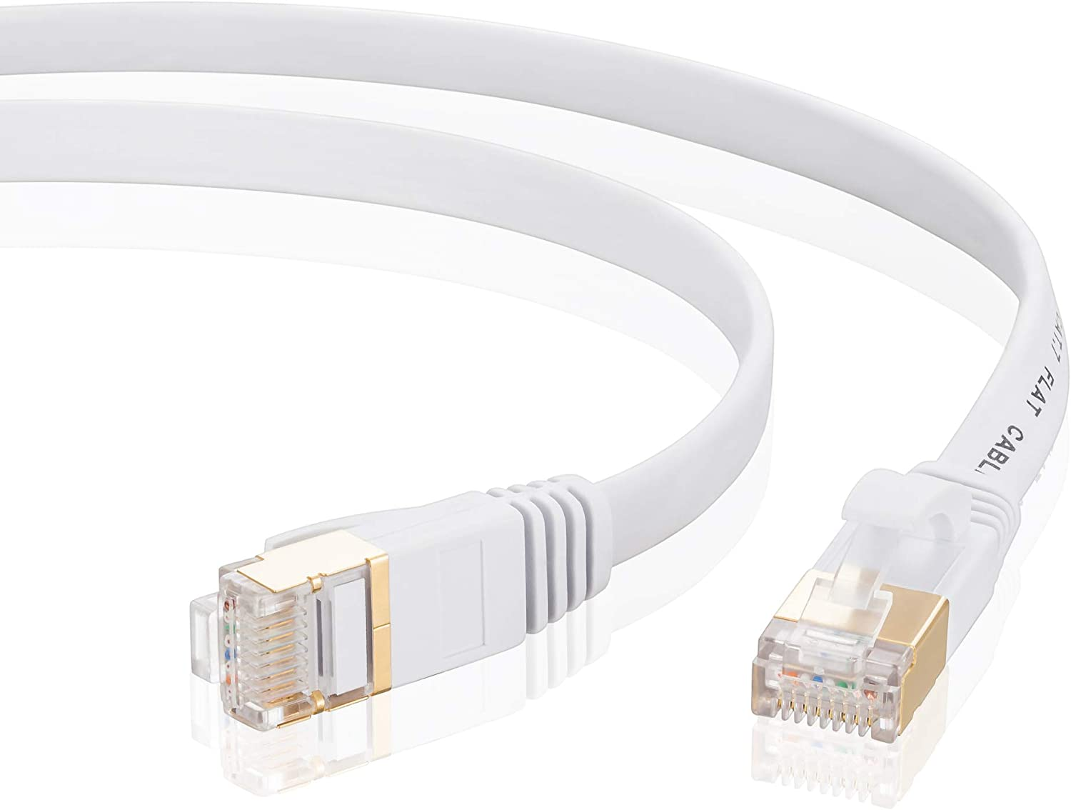 White PS4 PS3 PC Laptop Router Mac PS2 Cat 7 Ethernet Cable 25Ft Xbox 360 Tanbin Cat7 RJ45 Network Patch Cable Flat 10 Gigabit 600Mhz LAN Wire Cable Cord Shielded for Modem