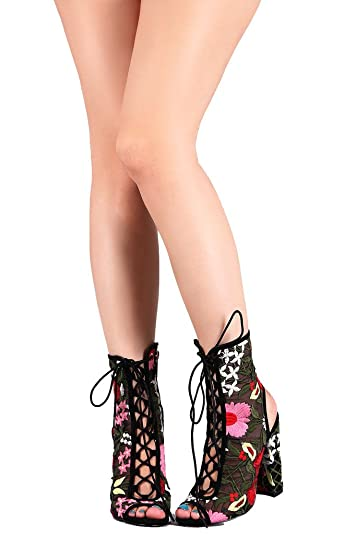 Peep Toe Lace Up Bootie W/ Mesh Corset Embroidered Floral Block Heel Ankle Boot Crochet Sage-59