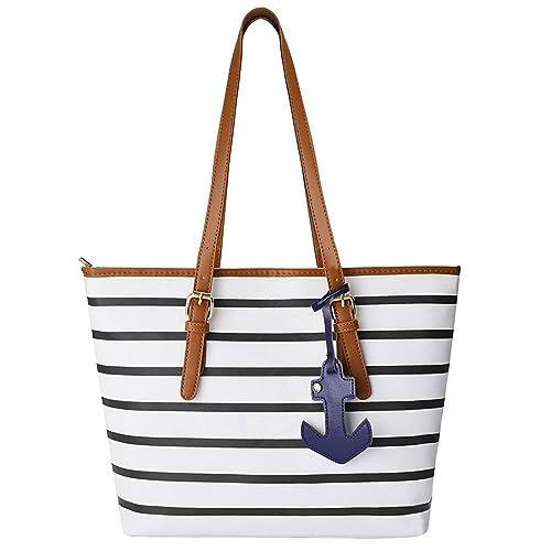 2f6a7784445c1 Amazon.com: Peak Mall Women Handbag Stripes Single Shoulder PU Leather Tote  Shoulder bag with Sea Anchor Pendant: Shoes