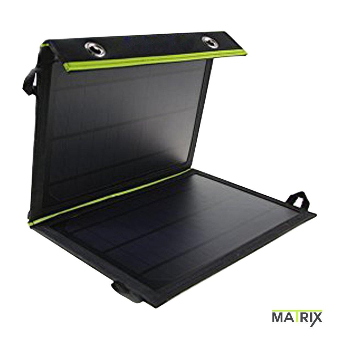 MATRIX 10W 2-Panel Foldable Solar Power Bank with Dual-USB 5V/2A Output