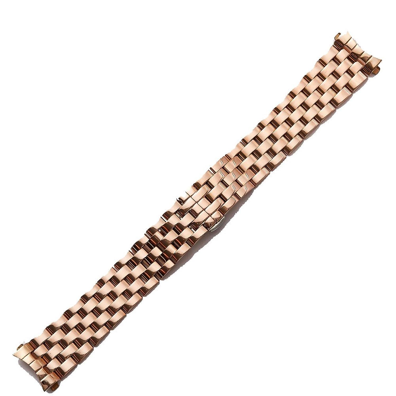 メタルウォッチバンドストラップCurved口ソリッドステンレススチールブレスレットメンズ&レディースバックル導入 17mm ローズゴールド  ローズゴールド 17mm B076Q7F963