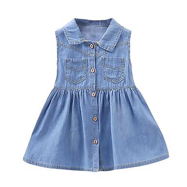 f2e9d327627f3 CHshe Toddler Kids Baby Girls Sleeveless Pocket Button Denim Jeans ...