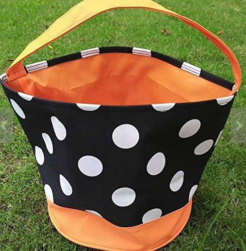 Halloween Candy Bag Trick or Treat Bags - Reusable durable handled bag design - Dots, Stripes, Skulls, Bats, Canvas and Bucket Basket by Jolly Jon (Black Bag, White Dots, Orange (Jello Shot Halloween Costume)