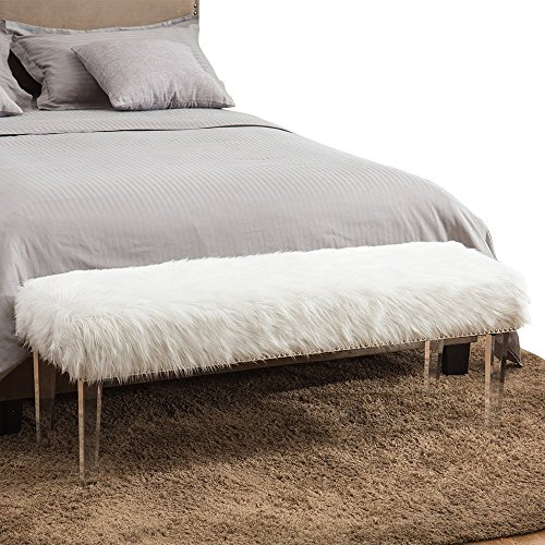 Bedroom Bench (Pure White Glamorous Soft Faux Fur Modern Style Decorative Bench Footrest Ottoman Nailed Acrylic legs)