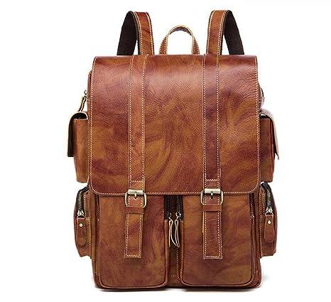 BAO Zaino uomo in pelle borsa studente retro borsa da viaggio ... e33e5d58a5f