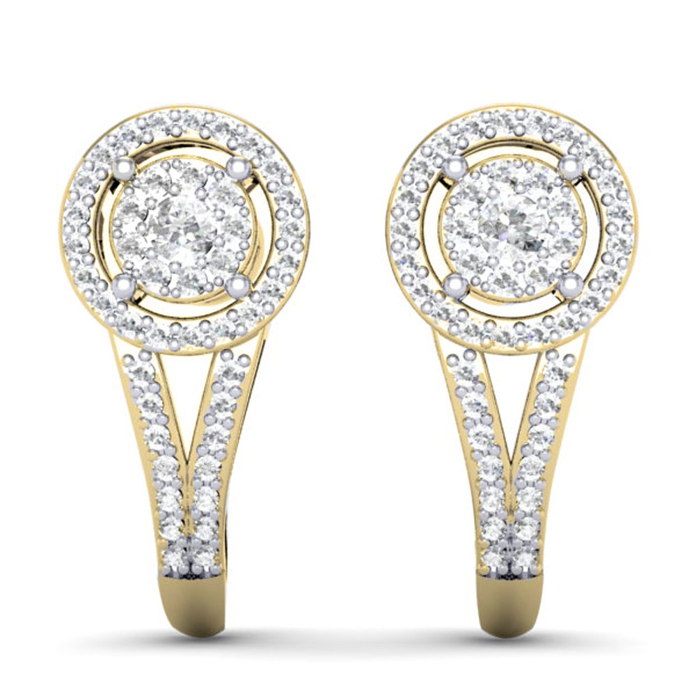0.50 Carat (ctw) 14K Yellow Gold Round White Diamond Ladies Double Frame Halo Style Hoop Earrings 1/2 CT