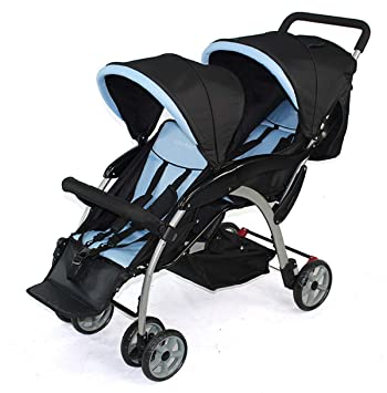 Twin Baby Stroller, Double Childrens Trolley, can sit and fold Four-Wheel Shock