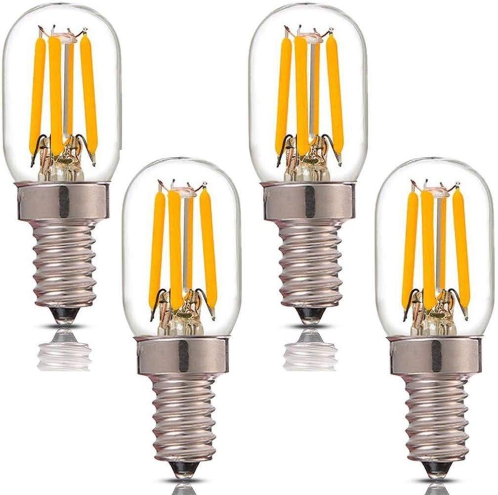 Lxcom E12 LED Bulb 4W Night Light Bulbs T7 Candelabra Light Lamp 3000K Warm White 40W Incandescent Equivalent Appliance Bulbs E12 Base Decorative Filament Bulb 400LM for Home Lighting, 4 Pack