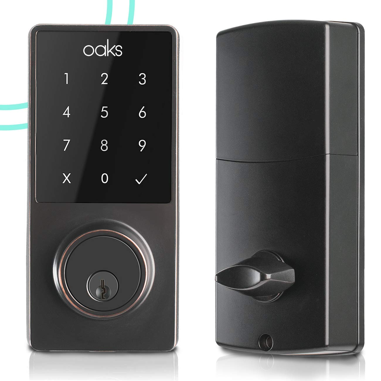 Electronic Deadbolt Smart Door Lock, LED Touch Screen Keypad, Bluetooth Smart Phone Enabled Keyless Access, Easy to Install, Oaks Smart Lock (Smart Lock) by OAKS LABS (Image #1)