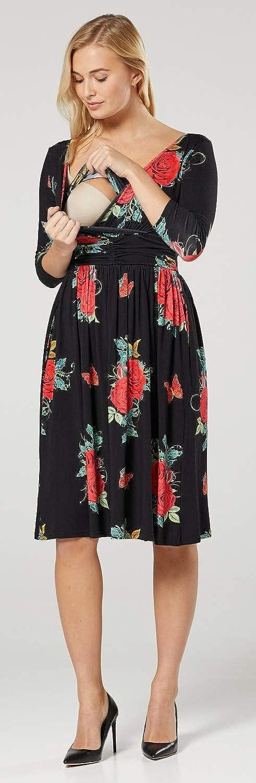 HAPPY MAMA Damen Mutterschaft Still-Panel Empire-Taille Kleid 1139