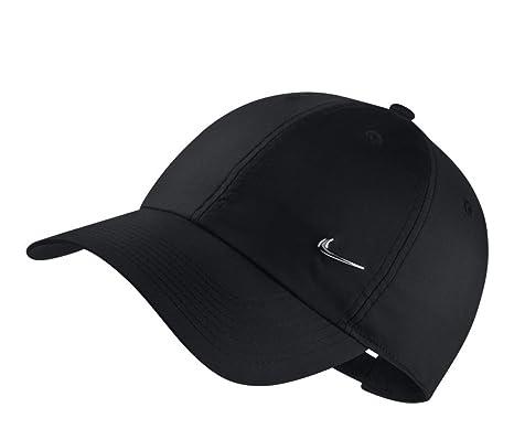 32867ba6a54 Nike Unisex Heritage 86 Metal Swoosh Cap - Black (Metallic Silver ...