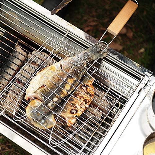 HCHD Barbecue Grill Mesh en Acier Inoxydable Barbecue Meshes Mesh Griller Poisson Portable Barbecue Panier Outils for Barbecue Accessoires De Cuisine