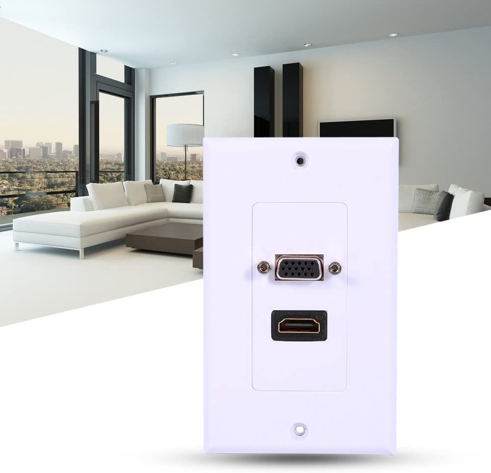 HDMI VGA Wall Plate,White ABS Single-Gang Wall USB Wall Plate Video Socket Face Connector Plate with 1 Port HDMI Female 1 Port VGA Female AV,for Standard Wall Mount Holes