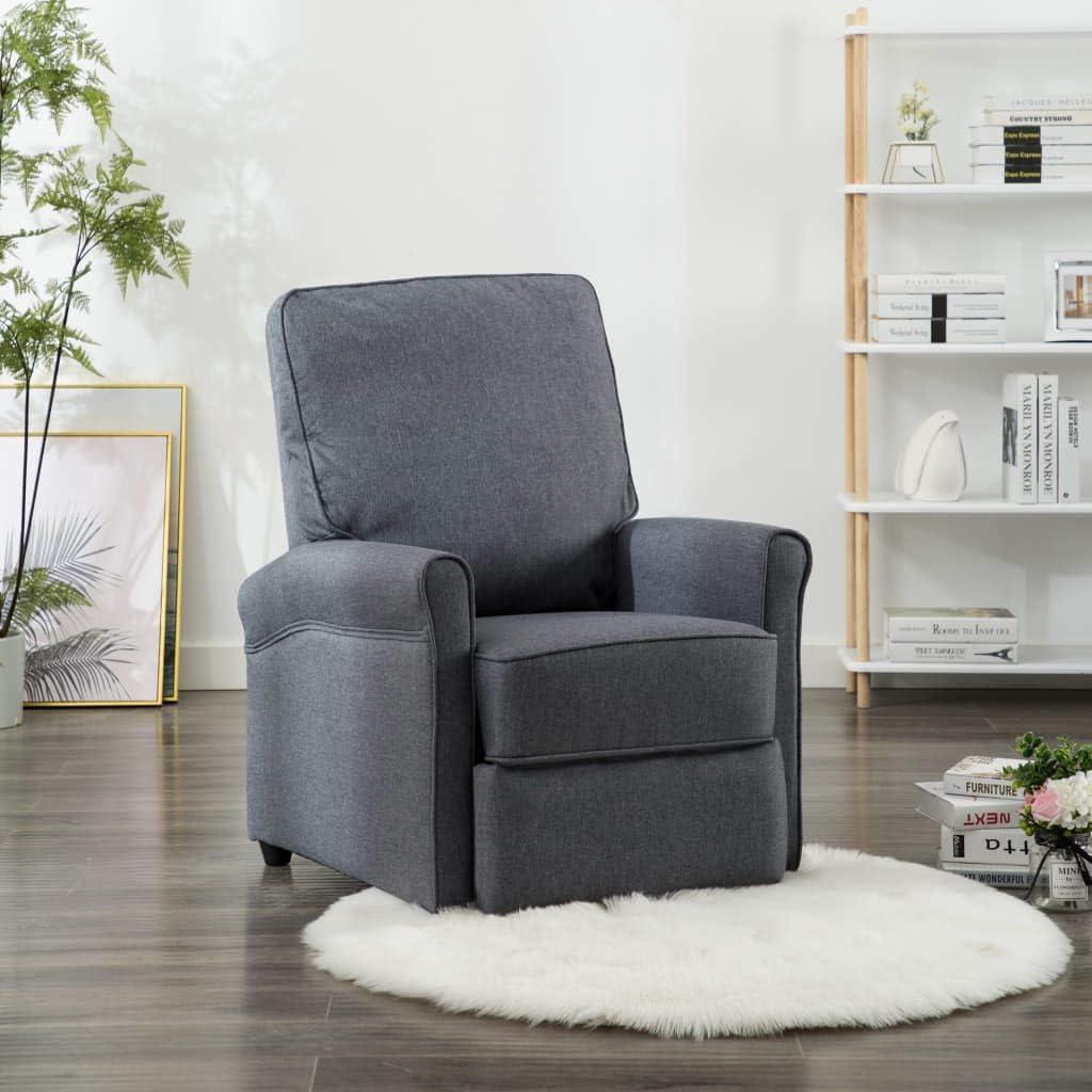 Tidyard Chaise Longue Luxueuse et Confortable en Tissu Gris Fonc/é