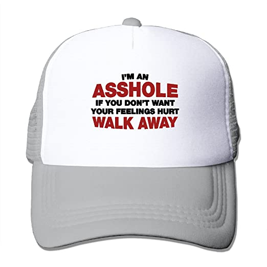 Im An Asshole If You Dont Want Your Feelings Hurt Mens Adjustable Snapback  Hat Mesh Cap at Amazon Men s Clothing store  a227d1b15bbc