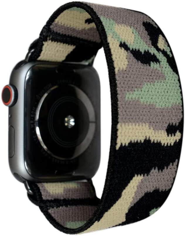 Tefeca Camouflage Elastic Compatible/Replacement Band for Apple Watch 42mm/44mm (Black Adapters, S fits Wrist Size : 6.0-6.5 inch)
