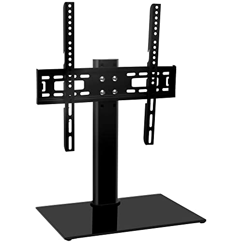 Universal TV Stand Base TableTop TV Stand for 26 to 55 Inch TVs -Height Adjustable TV Base Stand with Tempered Glass Base Wire Management, Holds up to 88lbs, VESA 400x400mm Max by HY Bracket HY4001