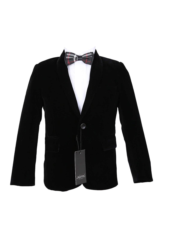 SIRRI Boys Party Velvet Blazer, Formal Pageboy Wedding Winter Checkered Bow Tie