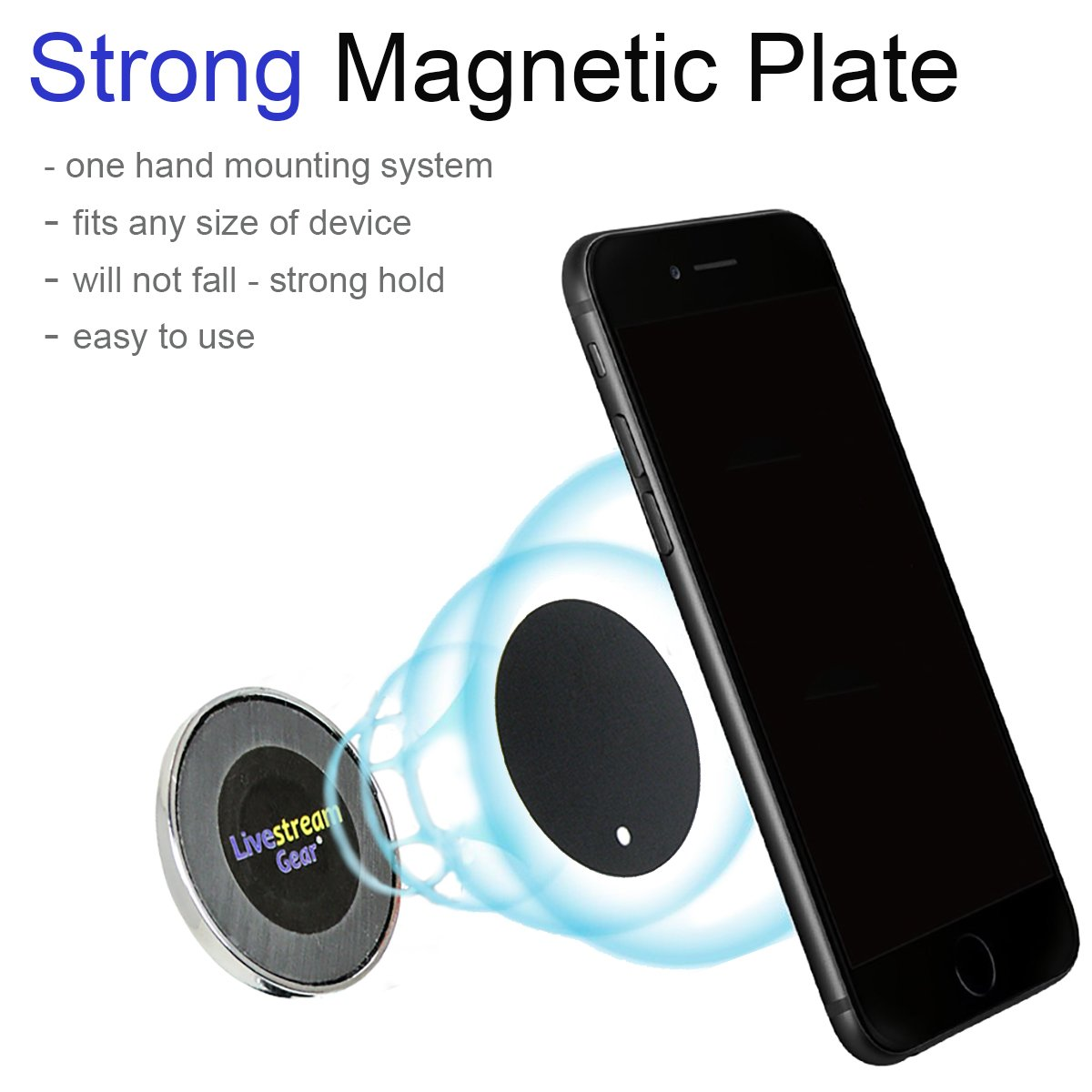 Universal Magnetic Phone Mount and Suction Cup Mount for Glass//Windshield in Car//Truck Cellfy Inc Easily Attach a Phone to Glass Surfaces via Magnetic Mount and Metallic Plates Livestream Gear Strong Hold 603