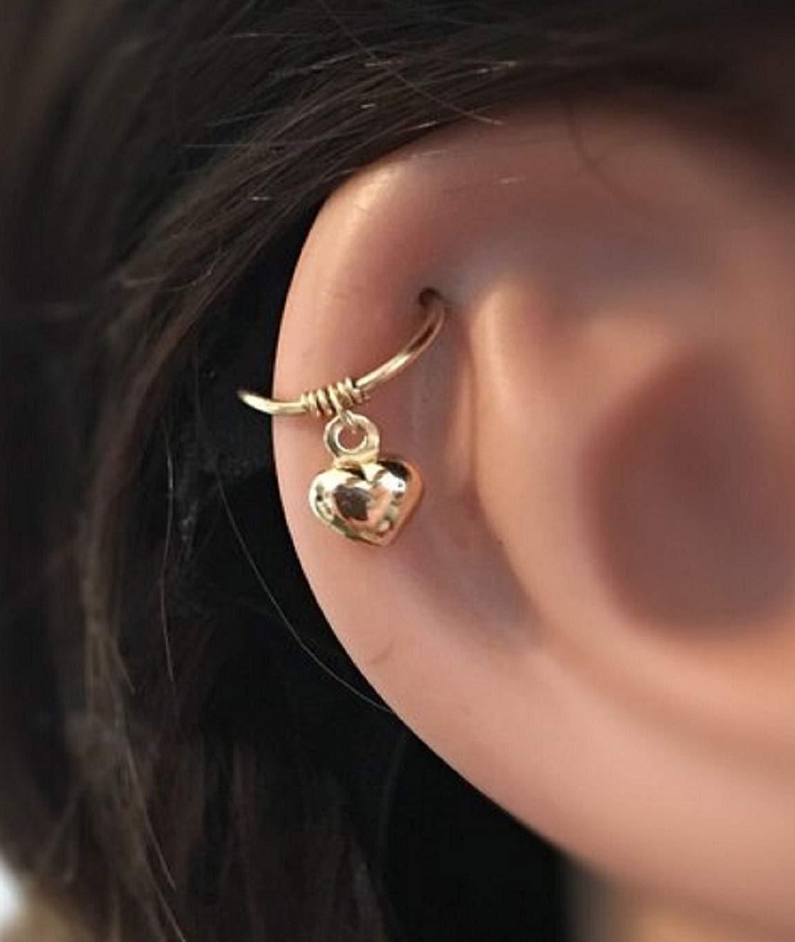 66caf657c Amazon.com: Heart Cartilage Earring 14K Gold Helix Ring Tragus Hoop:  Handmade