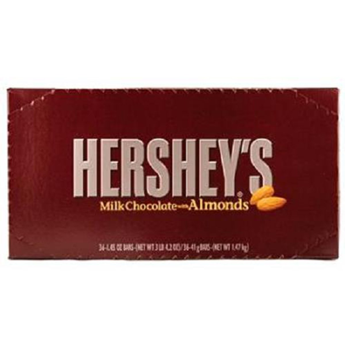 Product Of Hersheys, Milk Chocolate Almonds Bar, Count 36 (1.45 oz) - Chocolate Candy / Grab Varieties & Flavors