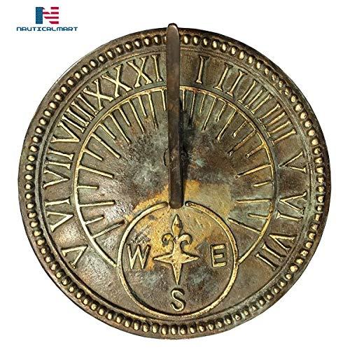 NAUTICALMART Roman Sundial, Solid Brass with Light Verdi Highlights, 8-Inch Diameter ()