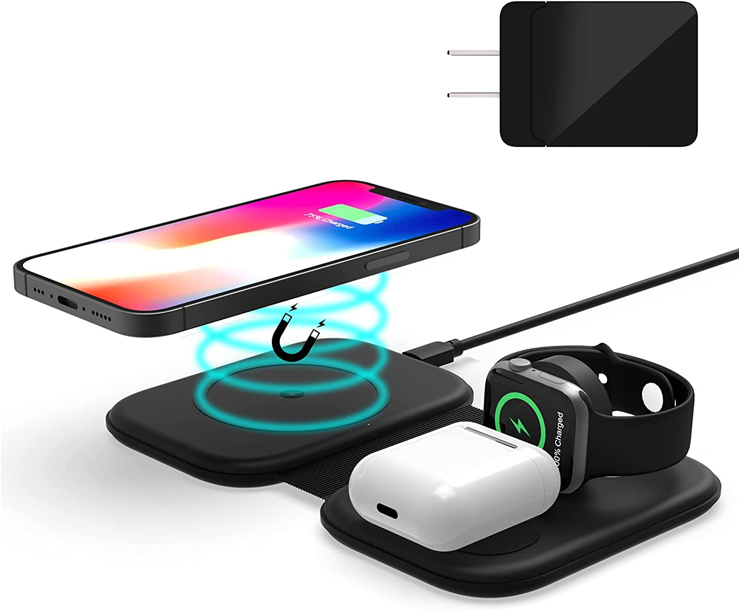 Wireless Charging Pad, FACEVER 3-in-1 Magnetic Wireless Charger for iPhone 12 11 Models/XS/X/XR/SE 2/Apple Watch Series/Airpods Pro, Fold Charging Station Dock Compatible for Apple Magsafe Accessories