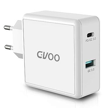 Gvoo Cargador rápida 3.0 49.5W y USB C Cargador PD Adaptador de Corriente 2 Puertos Cargador rápido para iPhone X / 8 / 8Plus / XR/XS/XS MAX, Pixel 2 ...