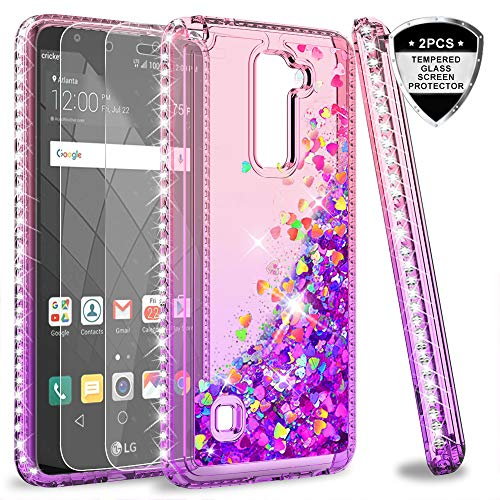 LG Stylo 2 V/Stylo 2/ Stylo 2 Plus/Stylus 2 Case with Tempered Glass Screen Protector for Girls Women, LeYi Shiny Glitter Moving Quicksand Clear Bling Phone Case Cover for LG LS775 ZX Pink/Purple
