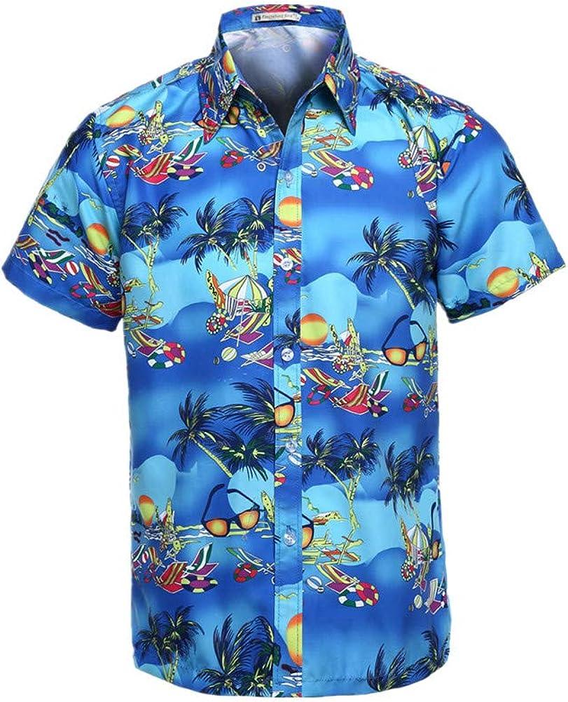 Fansu 3D Camisa Hawaiana para Hombre, Fiesta Tropical de Manga Corta Impreso Camisas de Trabajo Surf Funky Camisa Señores