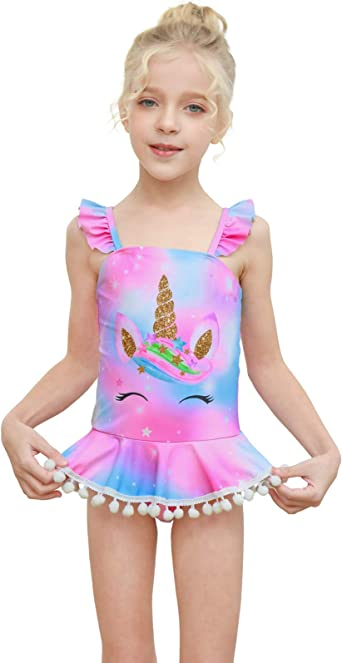 Play Tailor Girls Swimsuit One Piece Bathing Suit Swimwear with Skirt