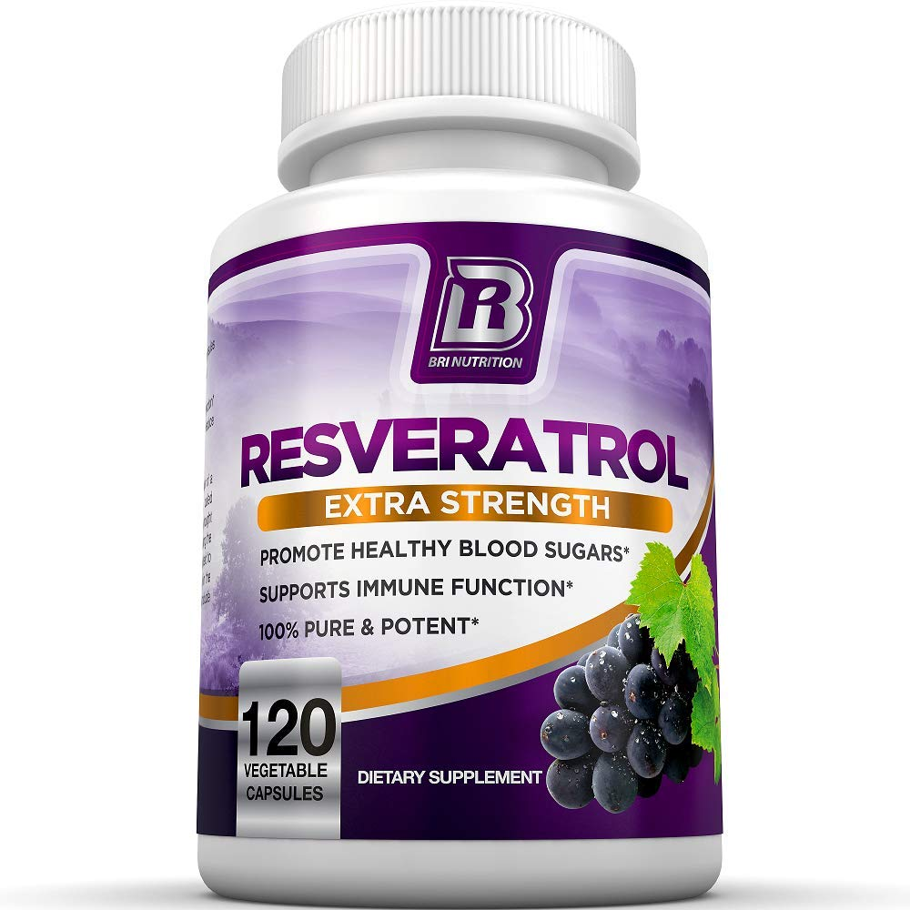 BRI Resveratrol - 1200mg Maximum Strength Natural Antioxidant Supplement for Longevity Premium, Ultra Pure Veggie Caps Promote Healthy Heart and Brain Function and Immune System Health (120 Capsules) by BRI Nutrition