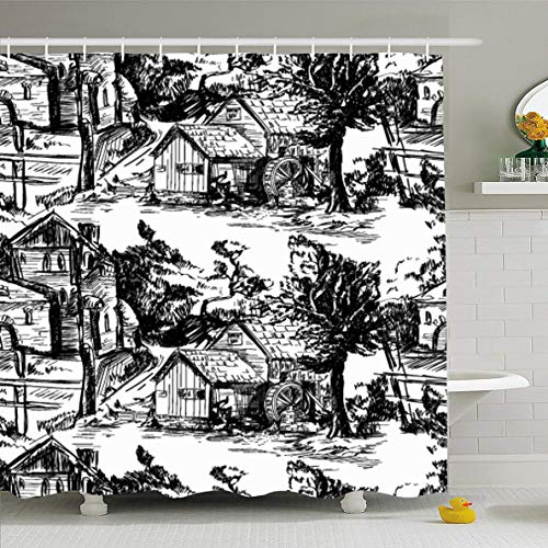 Ahawoso Shower Curtain 72 x 78 Inches Retro Toile Classic Pattern Old Townvillage Scenes Black Countryside Abstract Jouy Ancient Antique Waterproof Polyester Fabric Bathroom Set with Hooks
