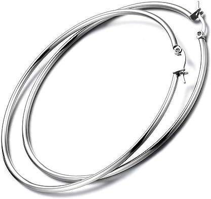Orecchini a bottone e a cerchio in argento su ganci rotondi