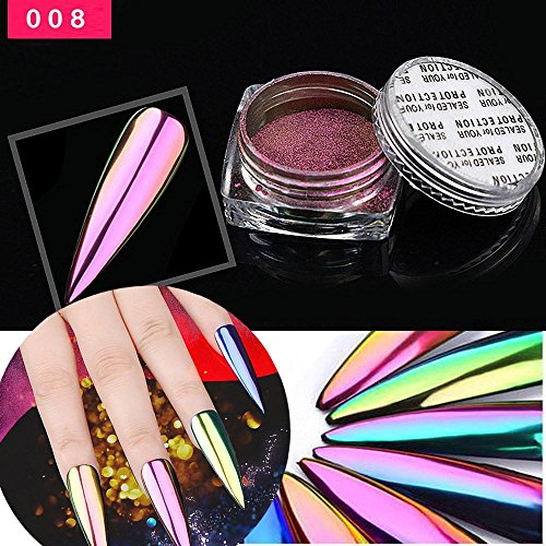 Oksale 1Box/5g Metal Chrome Nail Polish Powder Pigment Changing Colours Holographic Effect (I) (Pigment Colour)