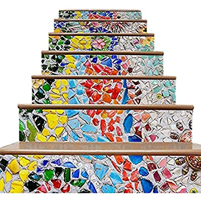 RONGT Self-Adhesive Stairway Risers Stickers Decorative Waterproof Stair Wall Decals, Removable and Washable Home Decals Wallpaper Stickers 1000mm x 180 mm x 6pcs