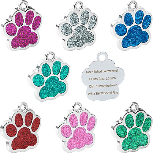 Pet ID Tags for Small Dog & Cat by Vcalabashor™ / Glitter Eye-Catch Pet Tag / Customized Dog Tag / Bling Personalized Engraved Pet ID Tags / Blue / Pink / Silver / Red / Cherry Red / 1.0