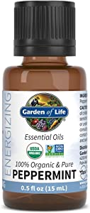 Garden of Life Essential Oil, Peppermint 0.5 fl oz (15 mL), 100% USDA Organic & Pure, Undiluted & Non-GMO - for Diffuser, Aromatherapy, Meditation - Energizing, Invigorating, Refreshing, Uplifting