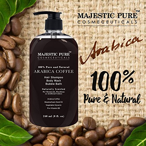 Arabica Coffee Anti Hair Loss Shampoo & Body Wash From Majestic Pure, Restore Hair Growth, Promotes Manageable Hair Regrowth, 8 Fl. Oz.