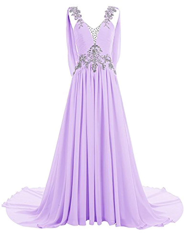 purplec CL Bridal Women's Beaded Rhinestones Straps V Neck Court Train Bridesmaid Dress
