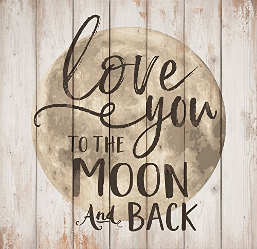 Love You to the Moon & Back Whitewash 24.5 x 24 Wood Pallet Wall Plaque Sign