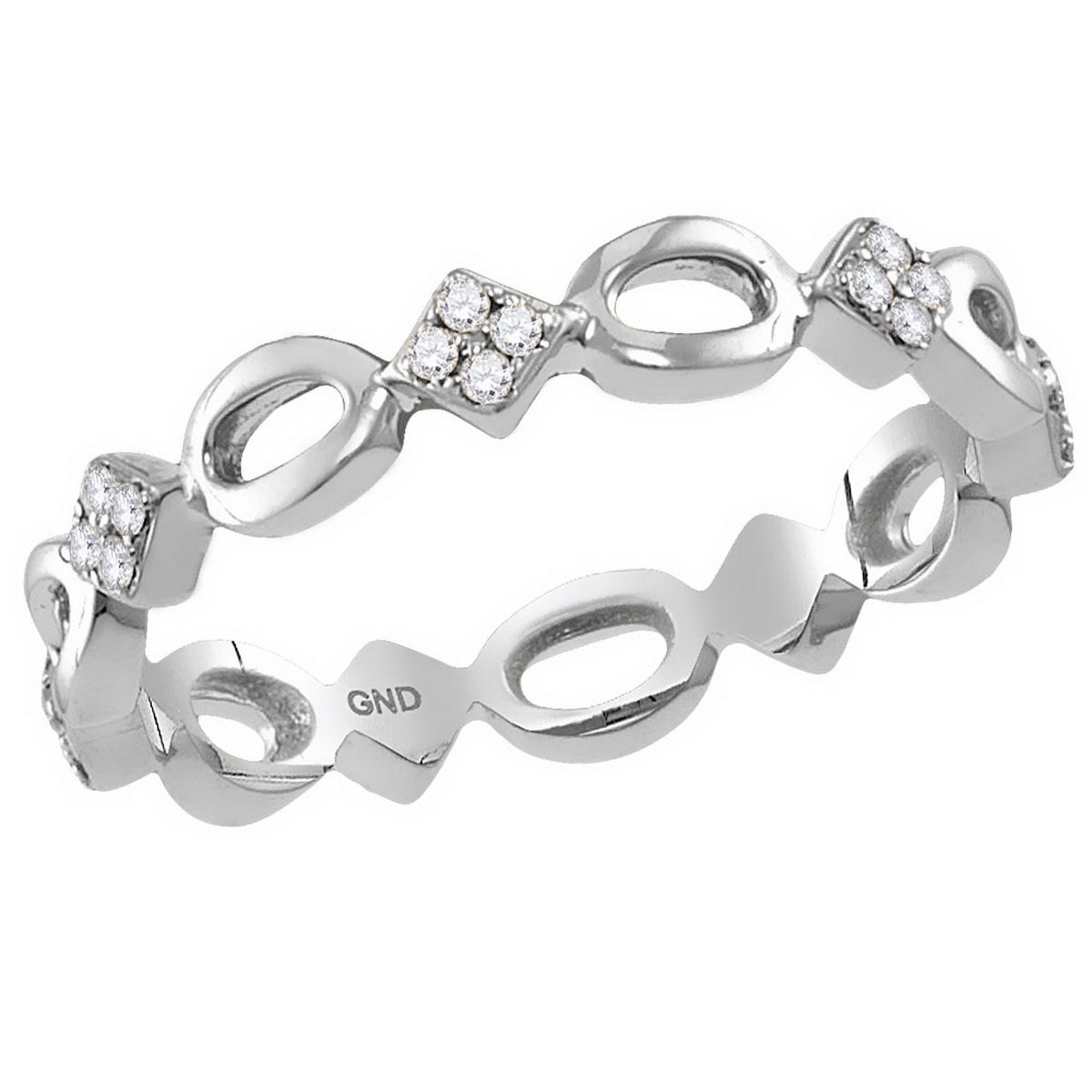 10kt White Gold Womens Round Diamond Square Cluster Stackable Band Ring 1/8 Cttw (I2-I3 clarity; H-I color)