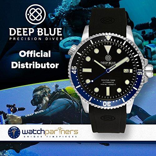 Deep Blue MASTER 1000M AUTOMATIC DIVER watch Black/Blu bezel Black strap & dial
