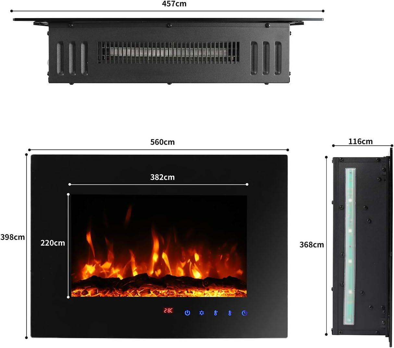 para Salas de 30 m/² negro Sekey Home Chimenea El/éctrica Montado en la Pared con Funci/ón Calefactora Termostato Montaje en Pared Efecto llameante Temporizador Mando a distancia