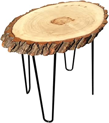 Amazon Com Modern Solid Natural Wood Round Slab End Table End