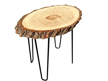 Beautiful Modern Solid Natural Wood Round Slab End Table (End Table Coffee Table